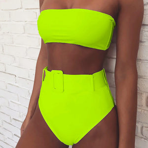 Women's Off Shoulder High Waist Belted 2 Piece Swimsuit