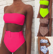 Load image into Gallery viewer, Women's Off Shoulder High Waist Belted 2 Piece Swimsuit