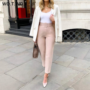Women's High Waist Pencil Ankle-Length Trousers