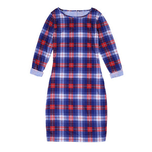 Mother & Daughter Matching Short Sleeves Dot T-shirt + Skirt & Red/White/Blue Plaid Dress Outfits
