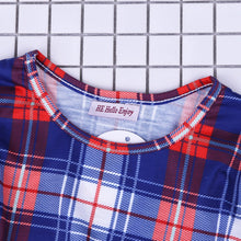 Load image into Gallery viewer, Mother & Daughter Matching Short Sleeves Dot T-shirt + Skirt & Red/White/Blue Plaid Dress Outfits