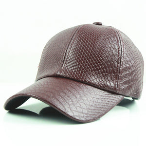 Women's Faux Leather Baseball Cap