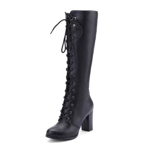 Women's Square High Heel Lace Up Boots