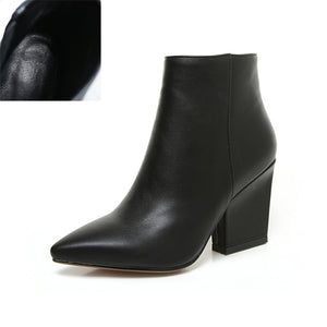 Women's Zip Closure Pointed Toe Block Heeled Ankle Boots