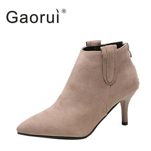 Women's Faux Suede Pointed Toe High Heel Ankle Boots