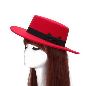 Women's Flat Wide Brim Woolen Hat