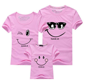 Family Matching Smiling Face Short Sleeve Tshirts