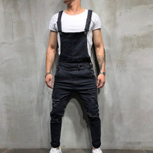 Load image into Gallery viewer, Men's Ripped Denim Jumpsuit Overalls