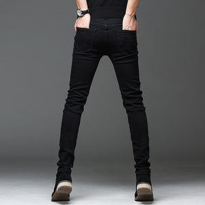 Men's Slim Elastic Black Skinny Jeans