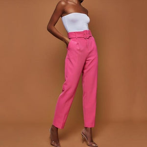 Women's Belted High Waist Ankle Trouser