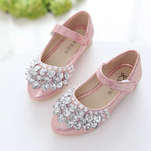 Load image into Gallery viewer, Girl's Rhinestone Ankle Strap Shoes 2-14