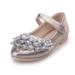 Girl's Rhinestone Ankle Strap Shoes 2-14