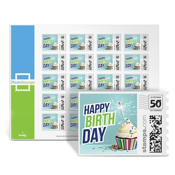 Birthday Cupcake Blue PhotoStamps