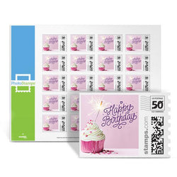 Birthday Cupcake Pink PhotoStamps