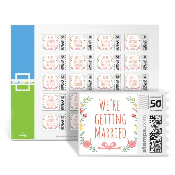 Floral Wreath - Getting Married PhotoStamps