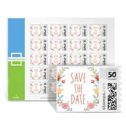 Floral Wreath - Save the Date PhotoStamps