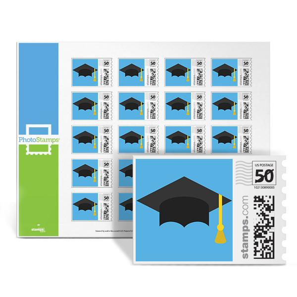 Graduation Cap Blue PhotoStamps