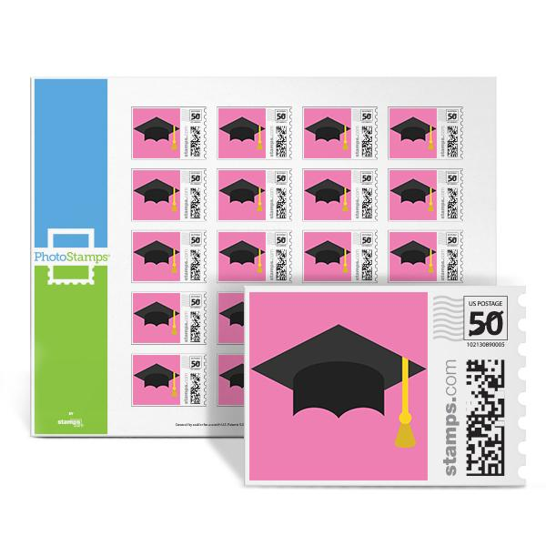 Graduation Cap Pink PhotoStamps