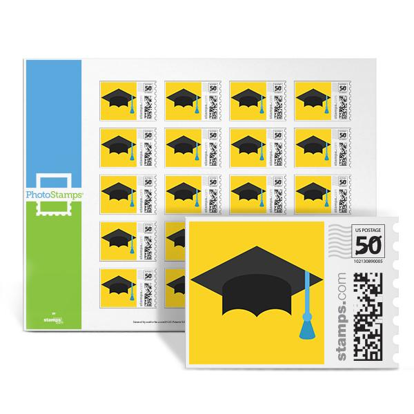 Graduation Cap Yellow PhotoStamps