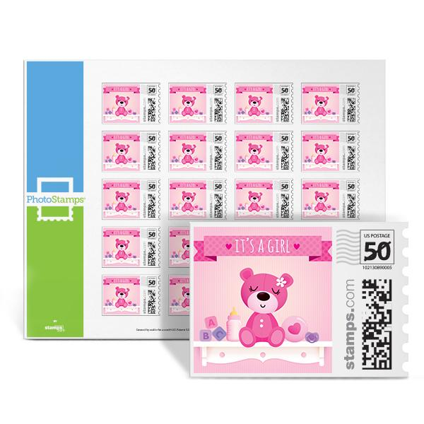 It's a Bear! - Girl PhotoStamps