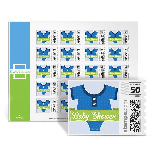 Onesie Baby Shower - Blue PhotoStamps