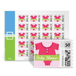 Onesie Baby Shower - Pink PhotoStamps