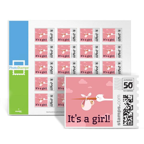 Stork - It's a Girl PhotoStamps