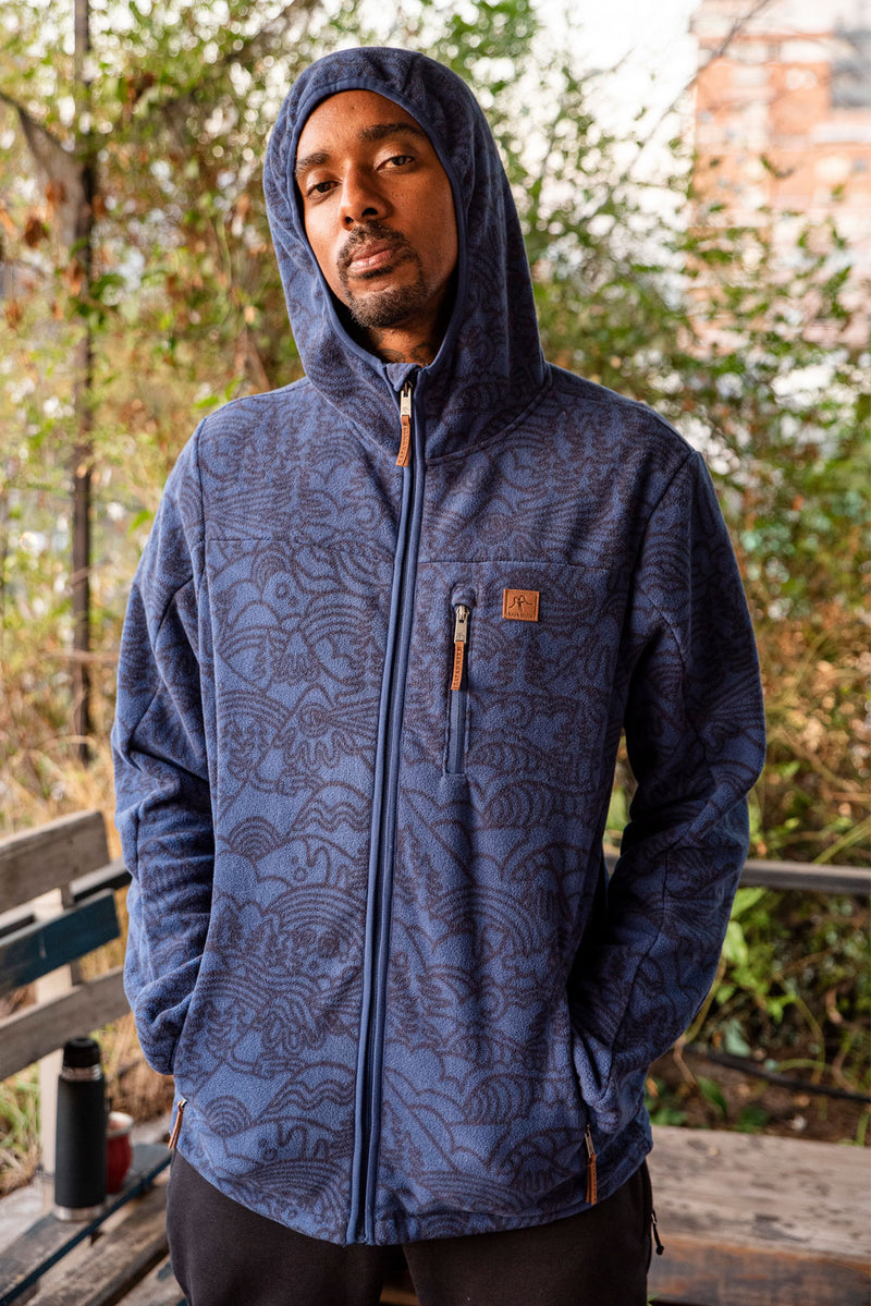 FLEECE FLEECE HOOD BLUE