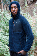 FLEECE SHAGGY HOOD BLUE