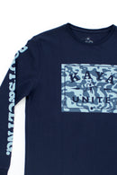 TSHIRT M/L STAMP LONG BLUE