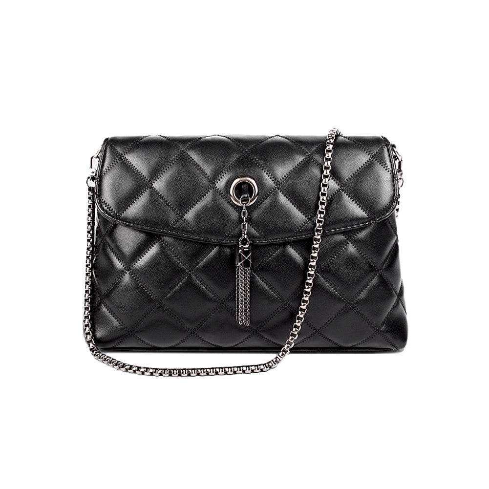 9b657711e9 New Women Tassel Shoulder Bag Pu Leather Quilted Plaid Chain Thread Crossbody  Messenger Bag Handbag Black