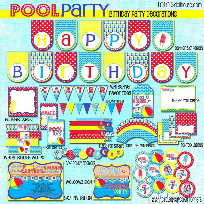 Pool Party Printable Collection