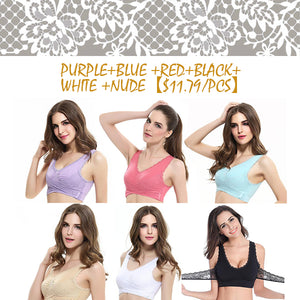 *FRONT CROSS SIDE BUCKLE LACE BRA Gentle bra