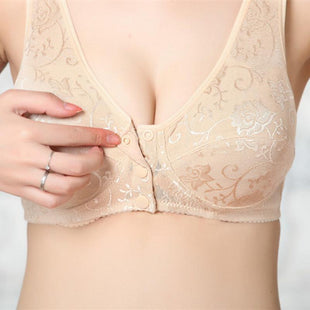*Front Button Wireless Cotton Full Coverage Soft Sleeping Padded Bra