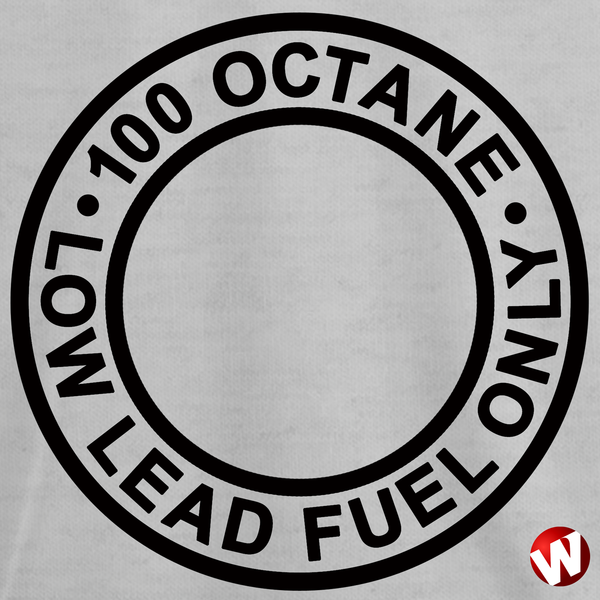100 Octane Low Lead Fuel Only (black ink, ash t-shirt). Windtee aviation t-shirts and custom graphics.