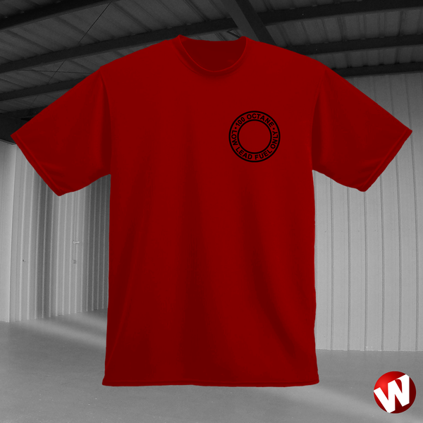100 Octane Low Lead Fuel Only (small graphic, black ink, red t-shirt). Windtee aviation t-shirts and custom graphics.