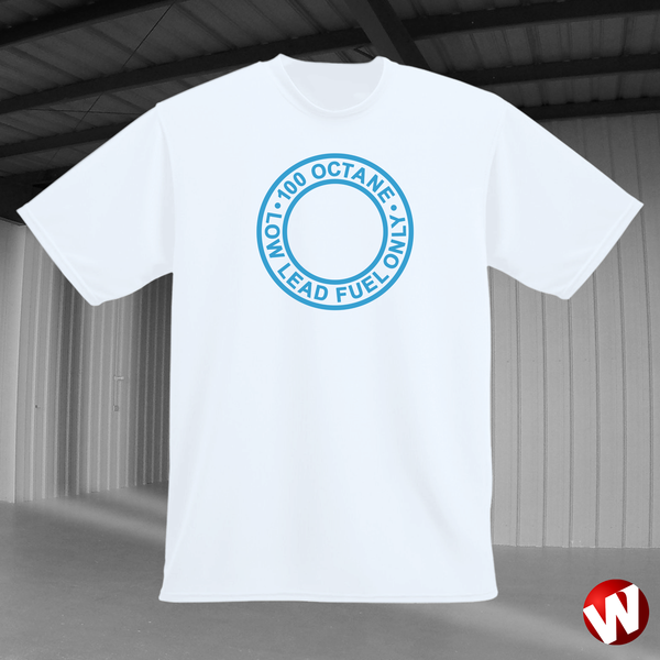 100 Octane Low Lead Fuel Only (blue ink, white t-shirt). Windtee aviation t-shirts and custom graphics.