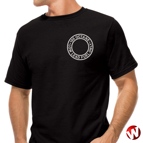 100 Octane Low Lead Fuel Only (small graphic, gray ink, black t-shirt). Windtee aviation t-shirts and custom graphics.