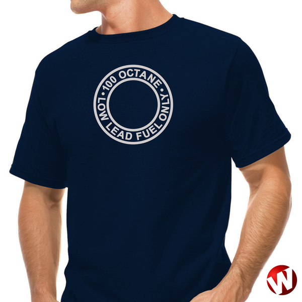 100 Octane Low Lead Fuel Only (gray ink, navy t-shirt). Windtee aviation t-shirts and custom graphics.