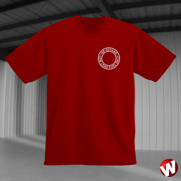 100 Octane Low Lead Fuel Only (small graphic, gray ink, red t-shirt). Windtee aviation t-shirts and custom graphics.