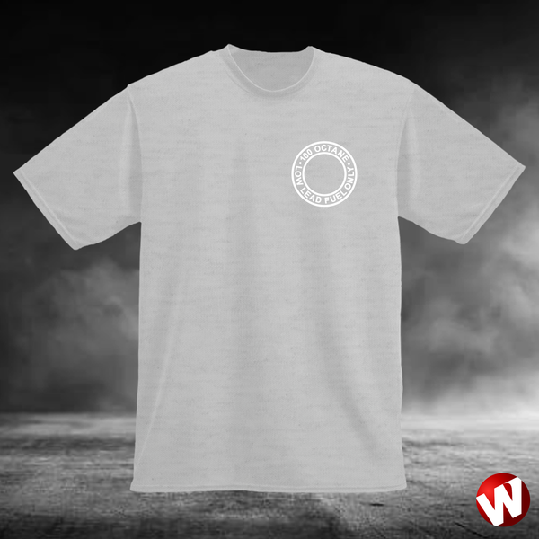 100 Octane Low Lead Fuel Only (small graphic, white ink, ash t-shirt). Windtee aviation t-shirts and custom graphics.
