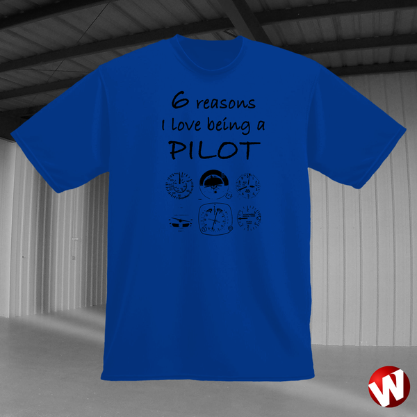 6 Reasons I Love Being a Pilot (black ink, royal t-shirt). Windtee aviation t-shirts and custom graphics.