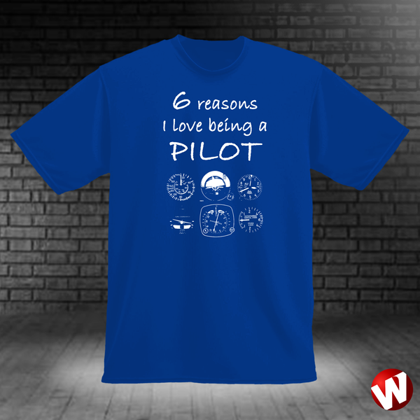 6 Reasons I Love Being a Pilot (white ink, royal t-shirt). Windtee aviation t-shirts and custom graphics.