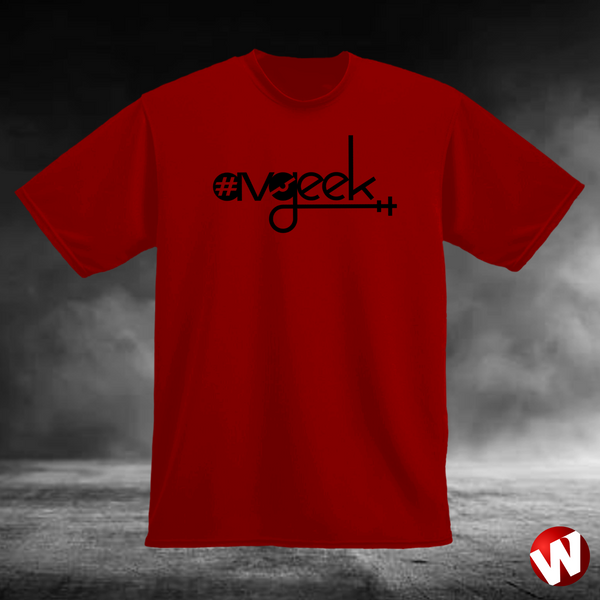 #Avgeek (black ink, red t-shirt). Windtee aviation t-shirts and custom graphics.