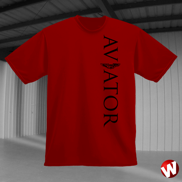 Aviator (wings, vertical graphic, black ink, red t-shirt). Windtee aviation t-shirts and custom graphics.