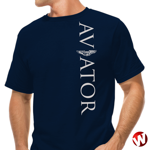 Aviator (wings, vertical graphic, gray ink, navy t-shirt). Windtee aviation t-shirts and custom graphics.