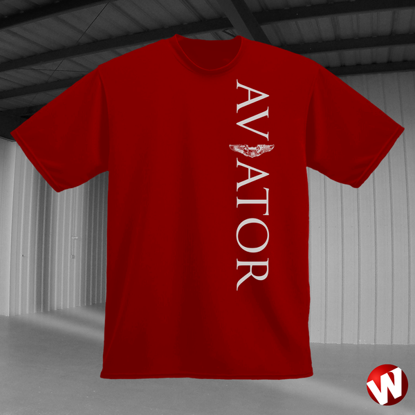 Aviator (wings, vertical graphic, gray ink, red t-shirt). Windtee aviation t-shirts and custom graphics.