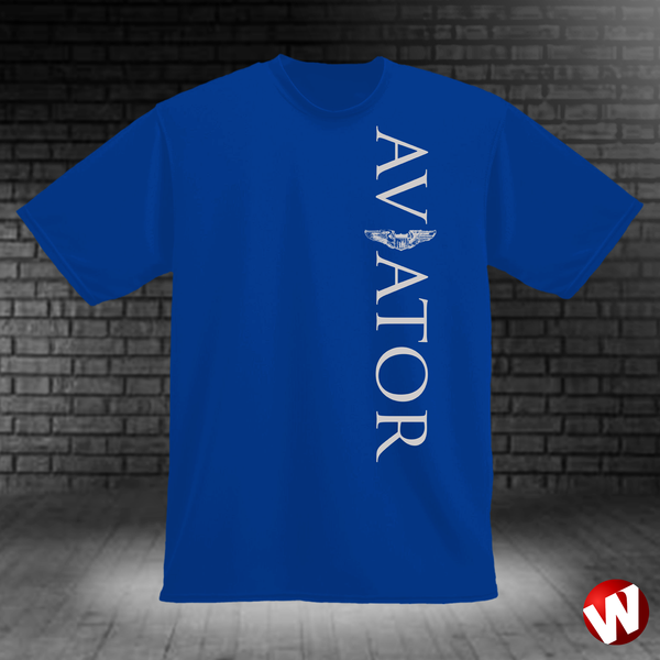 Aviator (wings, vertical graphic, gray ink, royal t-shirt). Windtee aviation t-shirts and custom graphics.