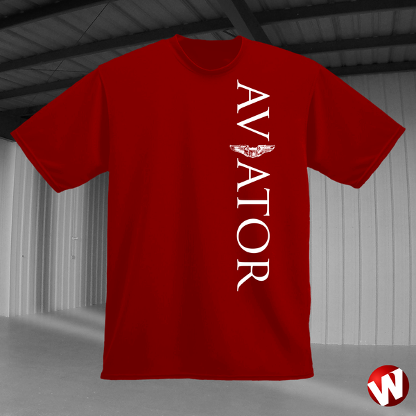 Aviator (wings, vertical graphic, white ink, red t-shirt). Windtee aviation t-shirts and custom graphics.