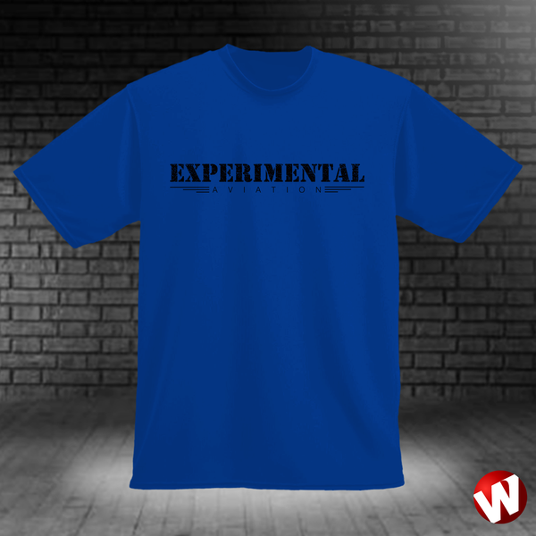 Experimental Aviation (black ink, royal t-shirt). Windtee aviation t-shirts and custom graphics.